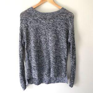 LOFT Knit Sweater Speckled Navy & White Cotton